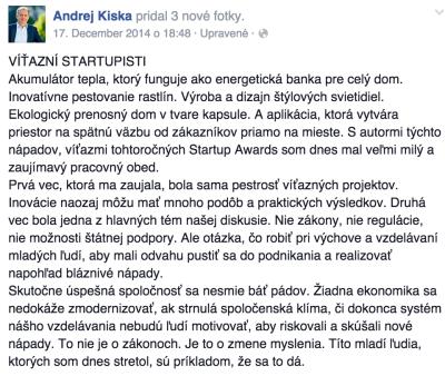 Dlhý príspevok na Facebooku Andrej Kiska