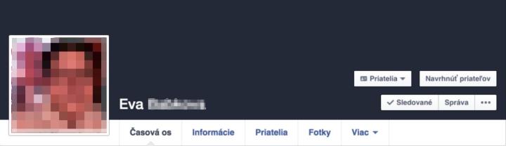 Facebook profil bez titulnej fotky