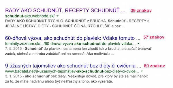 Návštevnosť Google - počet znakov