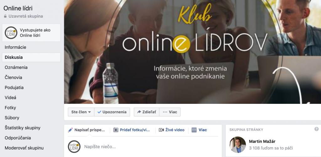 Facebook skupina online lídri