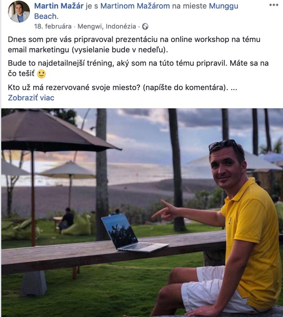 Príklad využitia osobného profilu na Facebooku