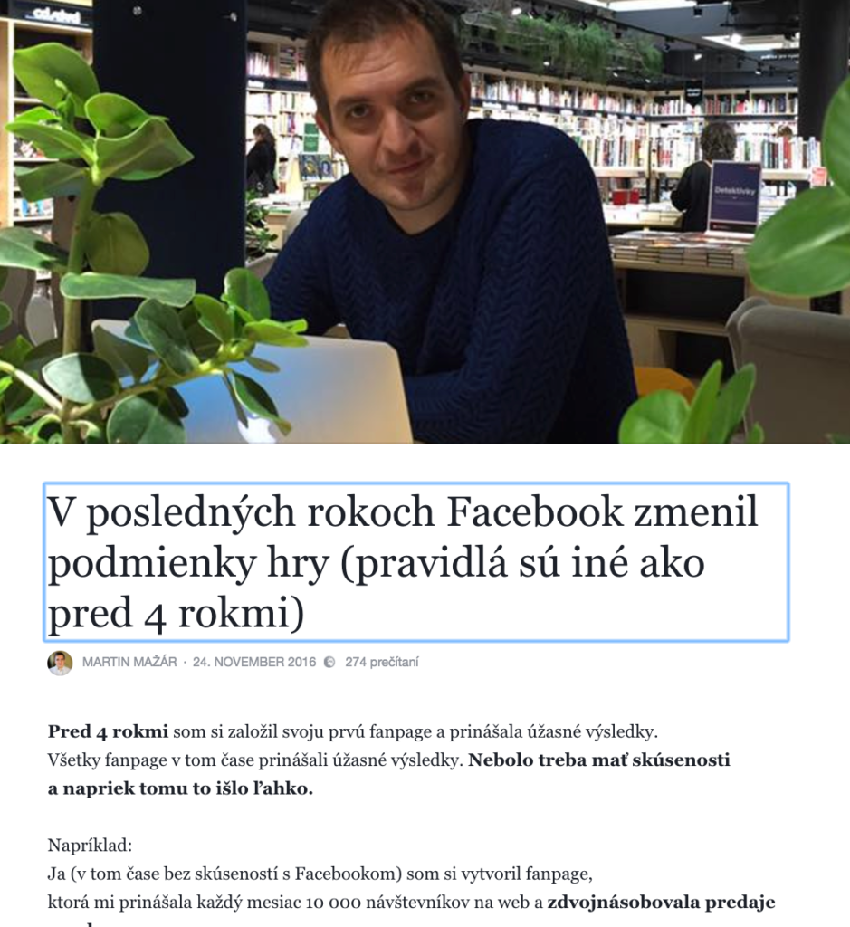 Poznámka - články na Facebooku