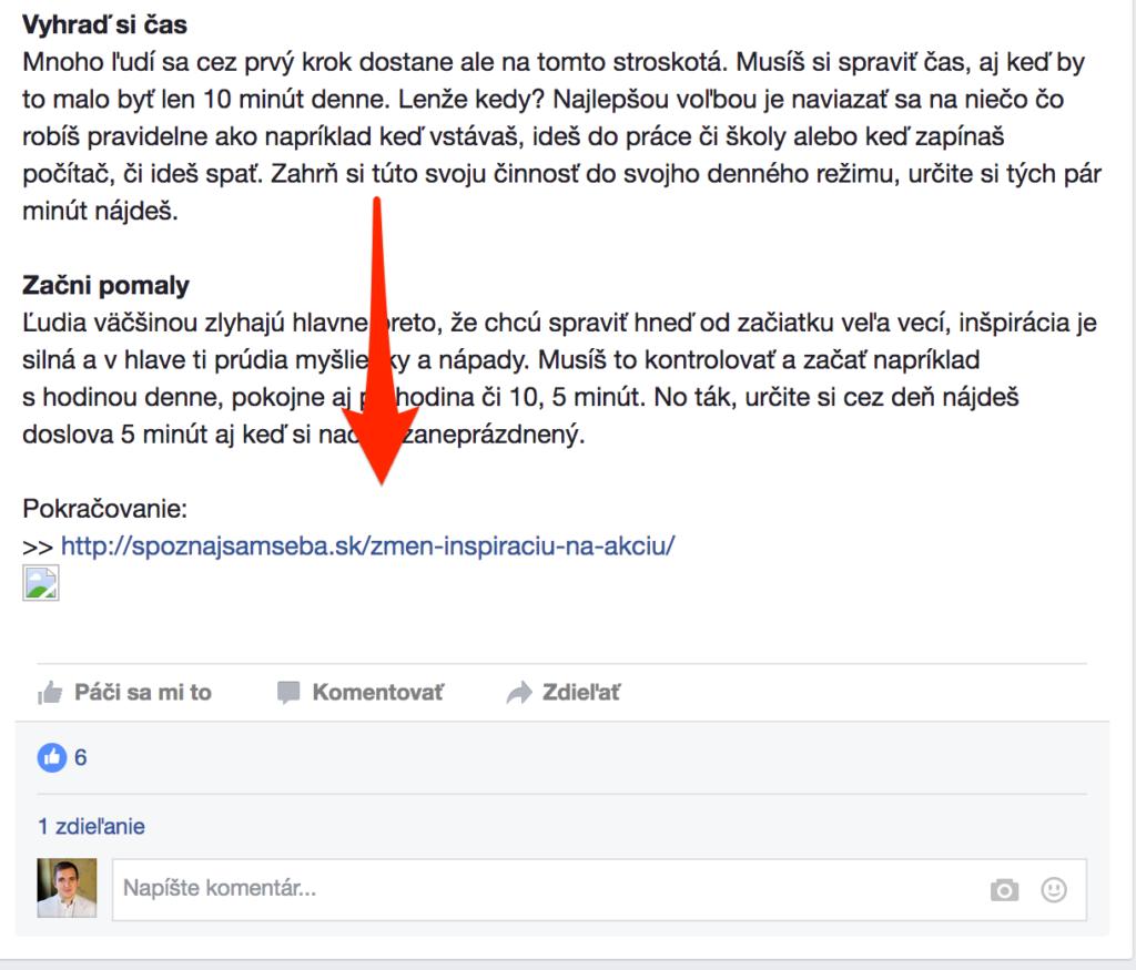 články na facebooku - pokračovanie
