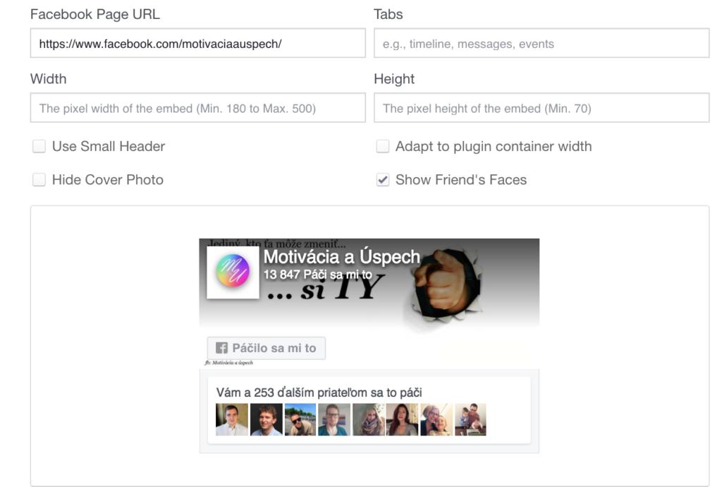 Facebook Page Box - nastavenie, ktoré používam