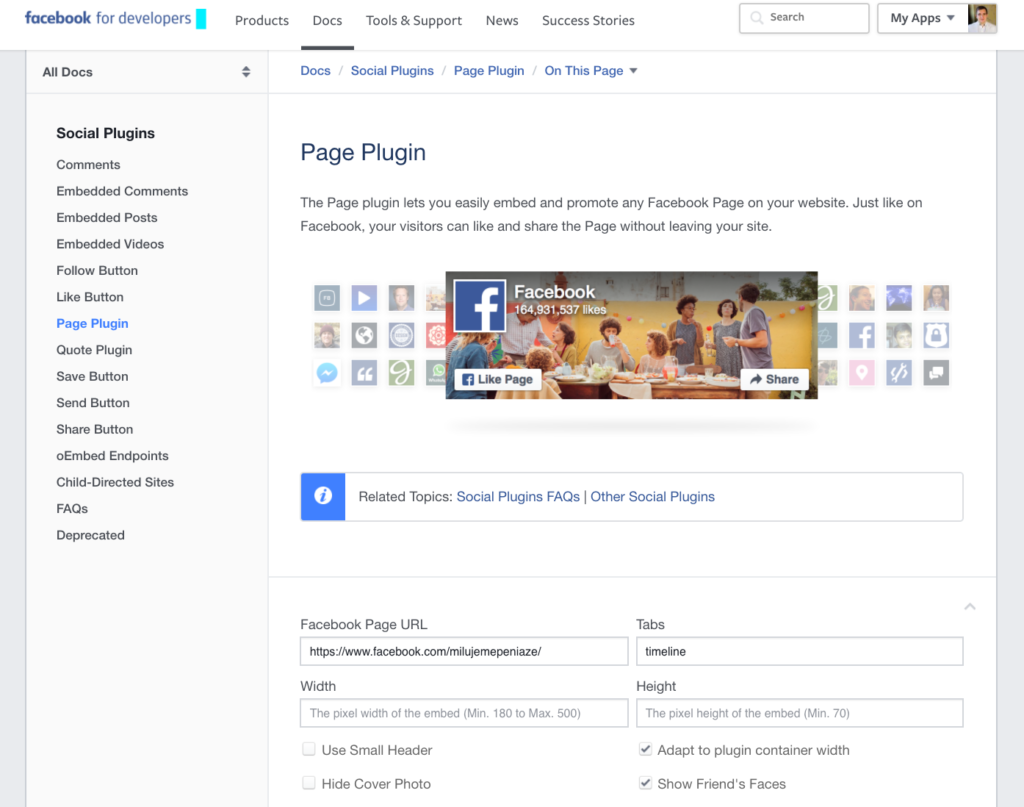 Facebook Page Plugin - prepojenie fanpage a webu
