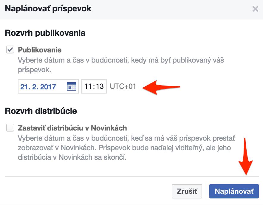 Facebook plánovanie príspevkov