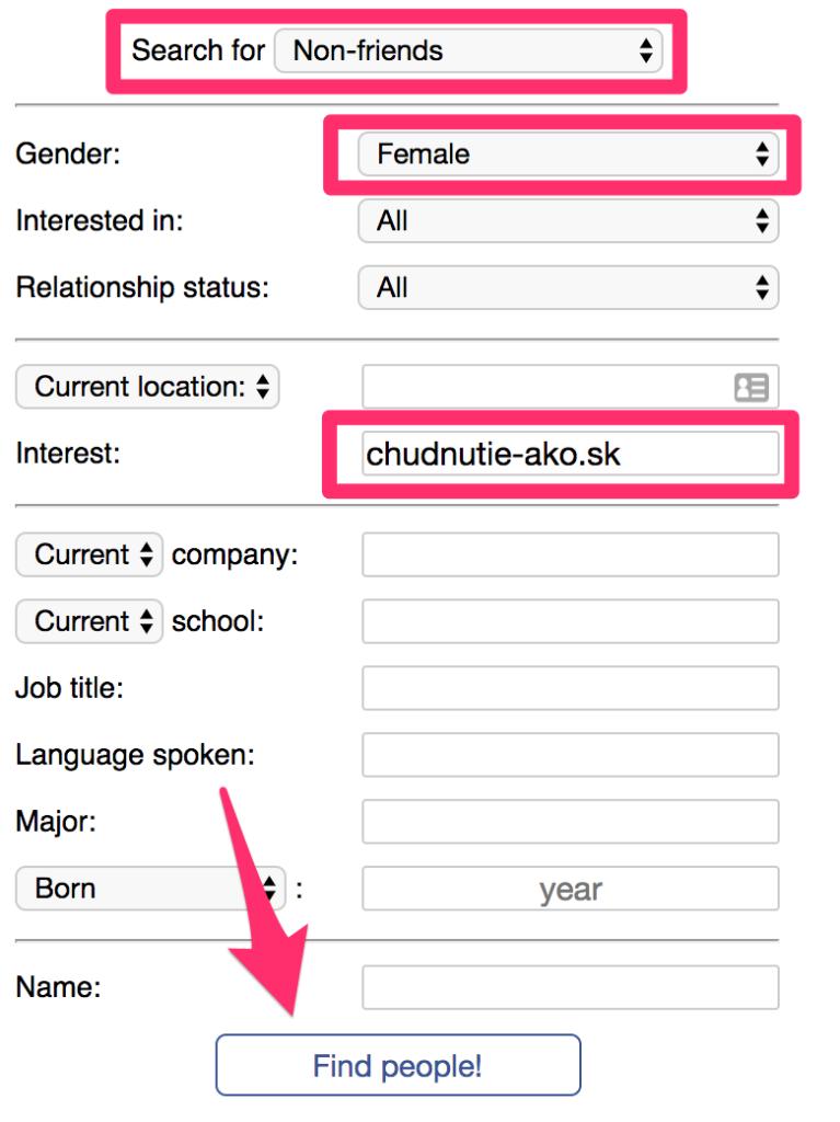 Vyhľadávanie kontaktov na klientov na Facebooku 1