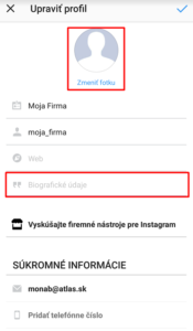 upravte profilovú fotku a popis účtu na Instagrame