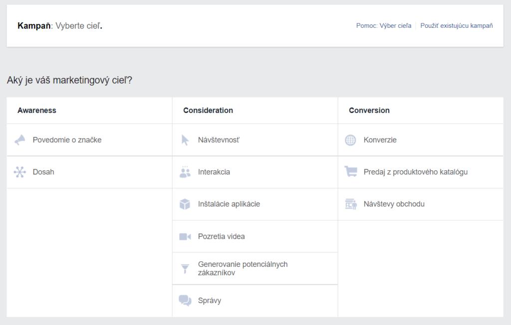 nastavenie cielu reklami facebook