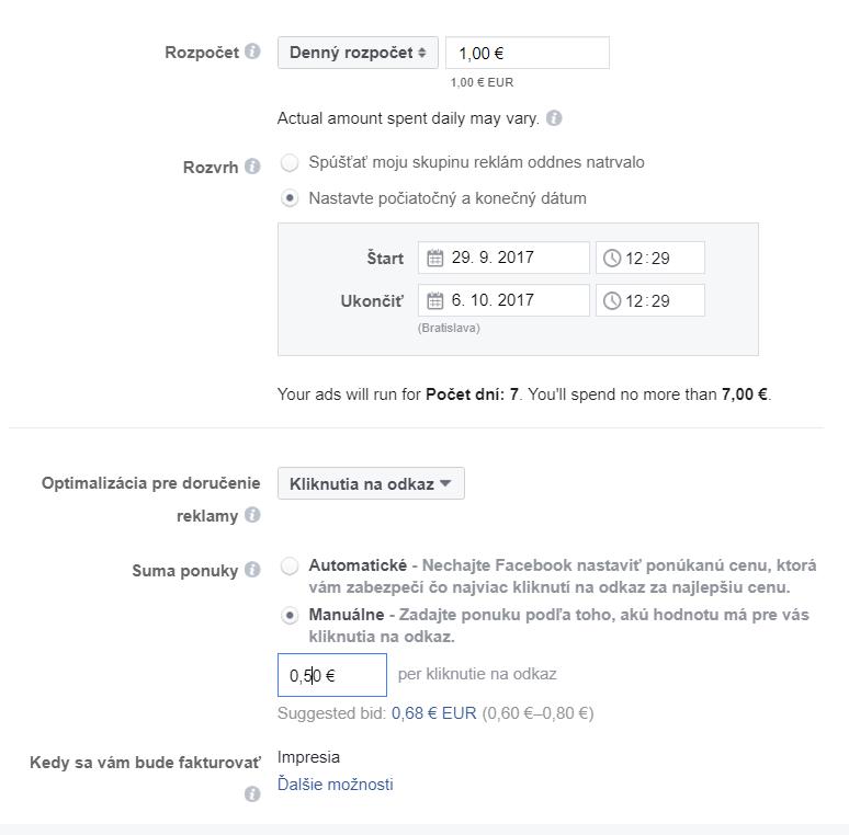 nastavenie rozpoctu reklamy facebook