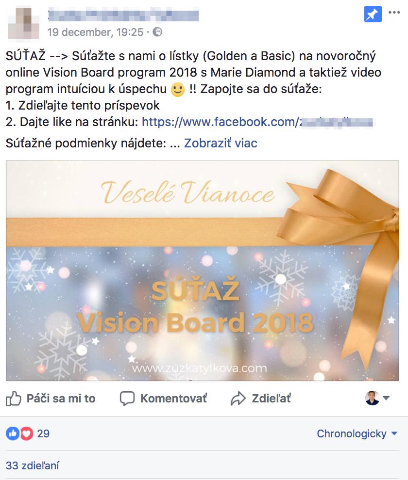 Facebook príspevok - porušenie zdieľanie