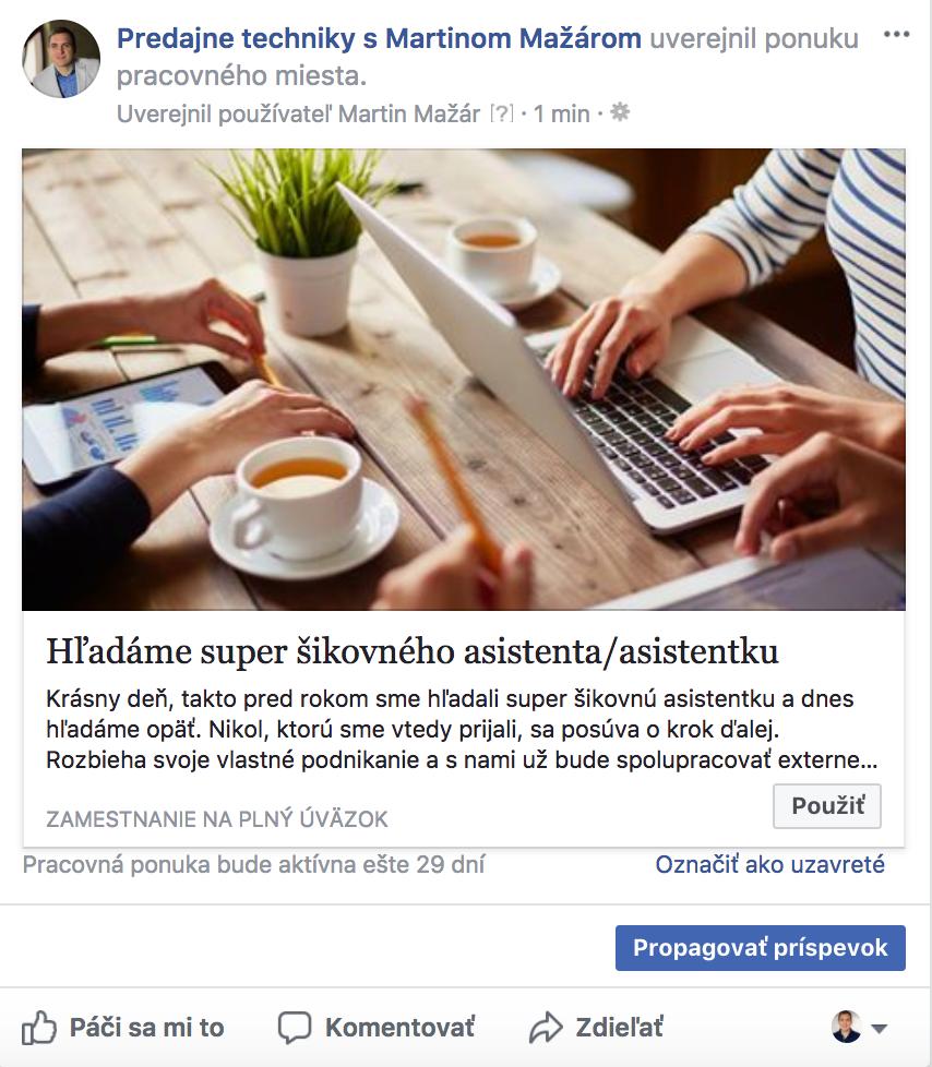 Pracovná ponuka na FB č. 5