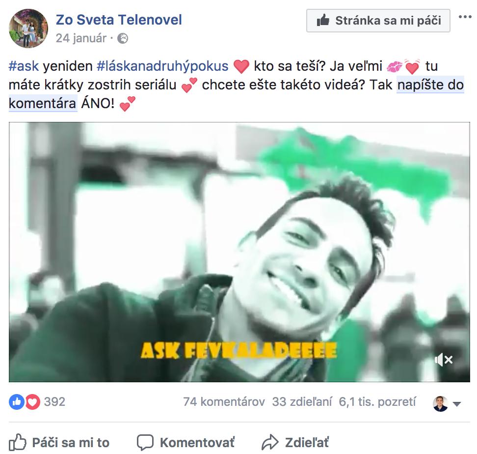 Príspevok facebook - napíšte do komentára