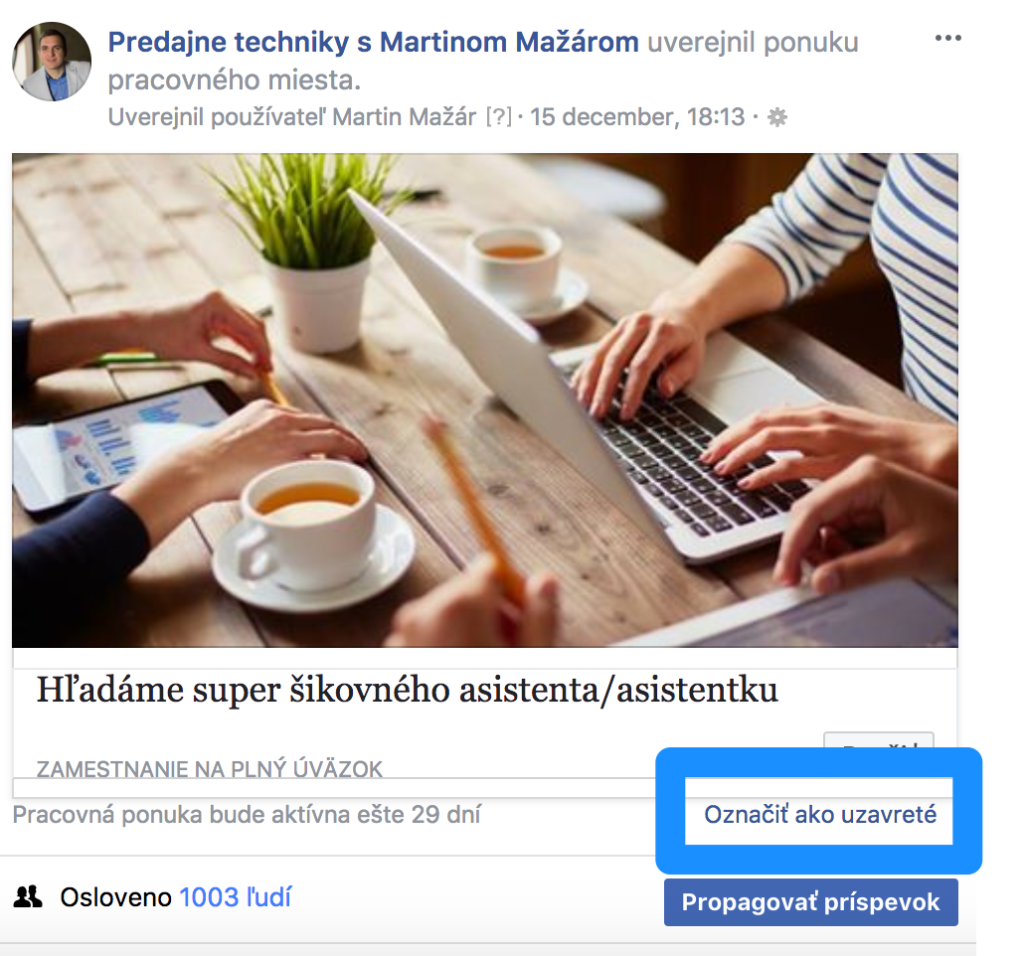 Uzatvoriť pracovnú ponuku na Facebooku 1