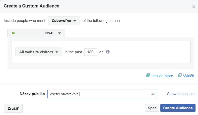 vytvorenie vlastného publika na základe facebook pixela