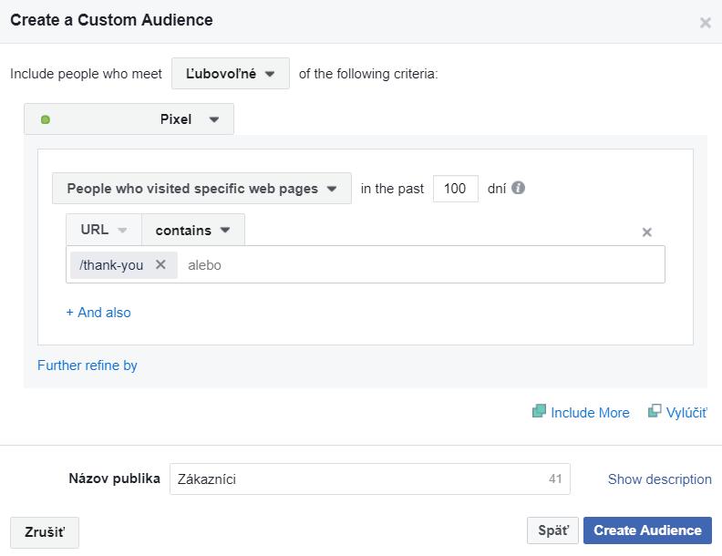 Facebook ďakovacia stránka