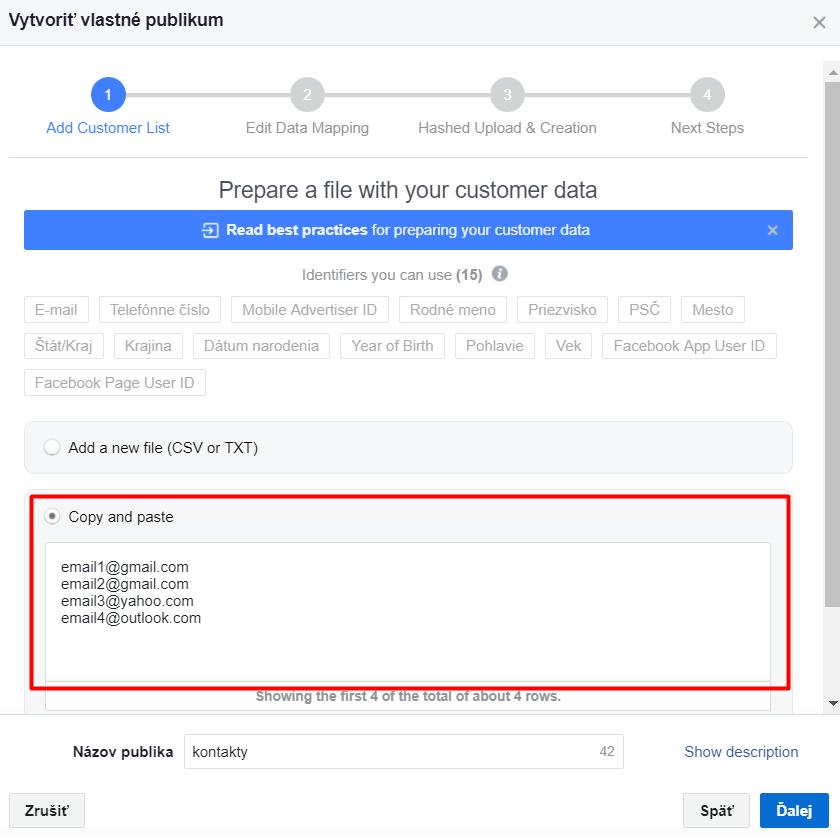 Vytvorenie vlastného publika u facebookovej reklamy