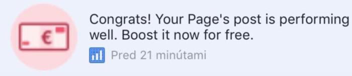 Facebook reklama kupón č. 1