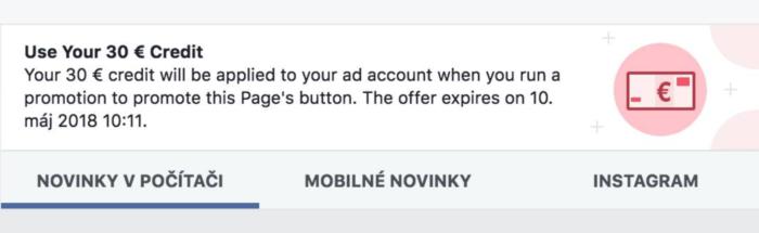 Kupón Facebook reklama č. 2