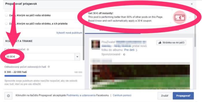 Kupon pre Facebook reklamu kontrola rozpočtu