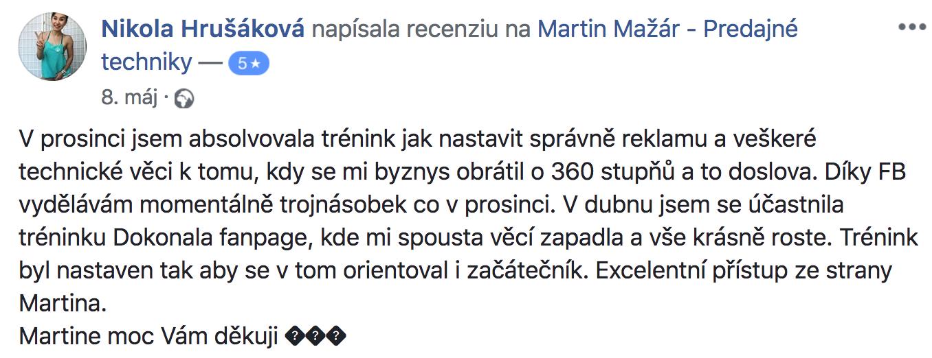 Recenzia Nikola Hrušáková na kurz Martina Mažára