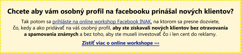 Facebook osobný profil - online workshop